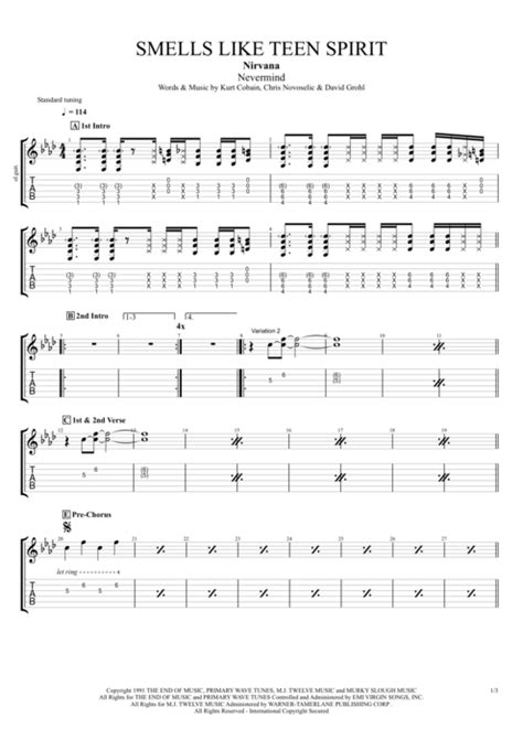Smells Like Teen Spirit by Nirvana - Full Score Guitar Pro