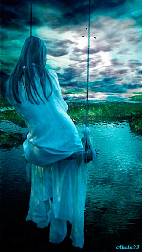 Blue girl on a swing :: Animated Pictures :: MyNiceProfile