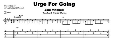 Joni Mitchell - Urge For Going | Guitar Lesson, Tab