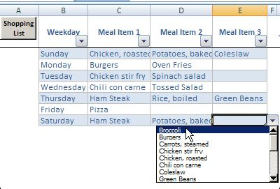 Excel Weekly Meal Planner 20150618 - Contextures Blog